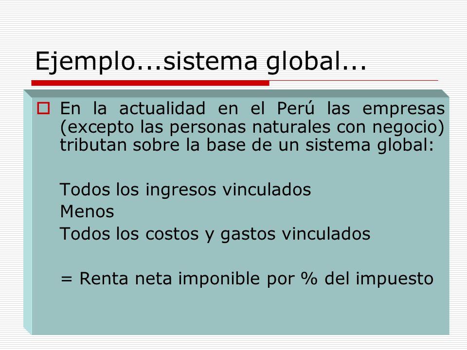 Ejemplo...sistema global... En la actualidad en el Perú las empresas (excepto las personas naturales con negocio) tributan sobre la base de un sistema