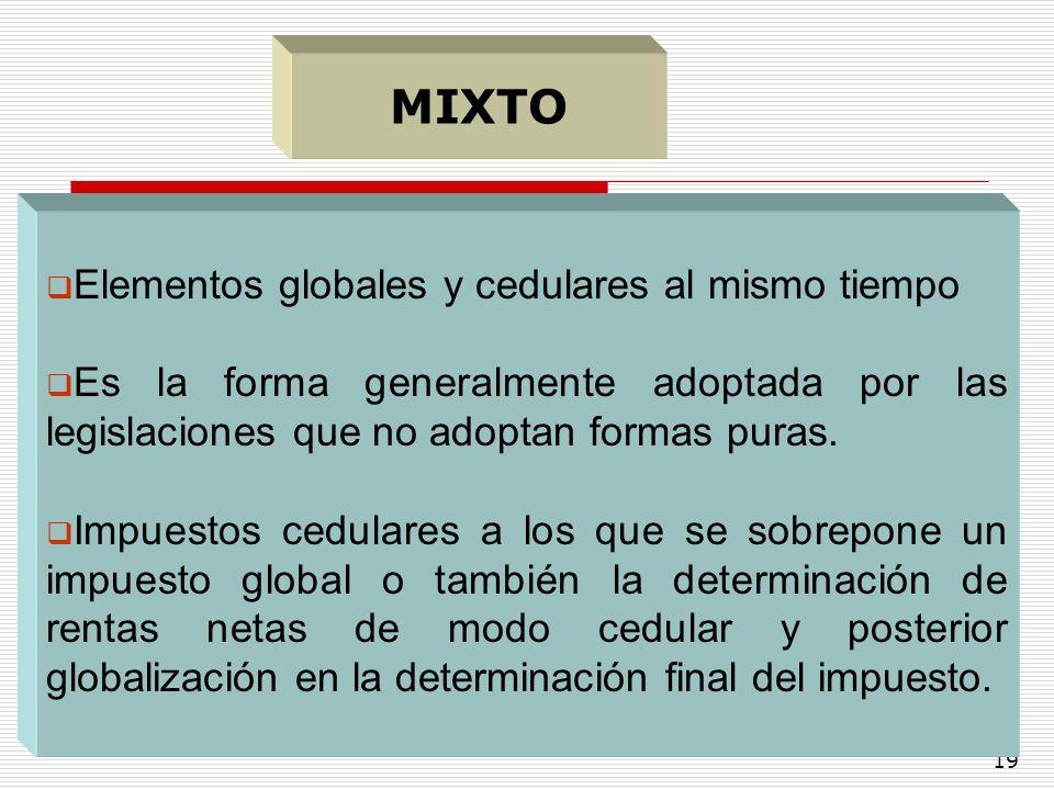 19 Elementos globales y cedulares al mismo tiempo Es la forma generalmente adoptada por las legislaciones que no adoptan formas puras. Impuestos cedul