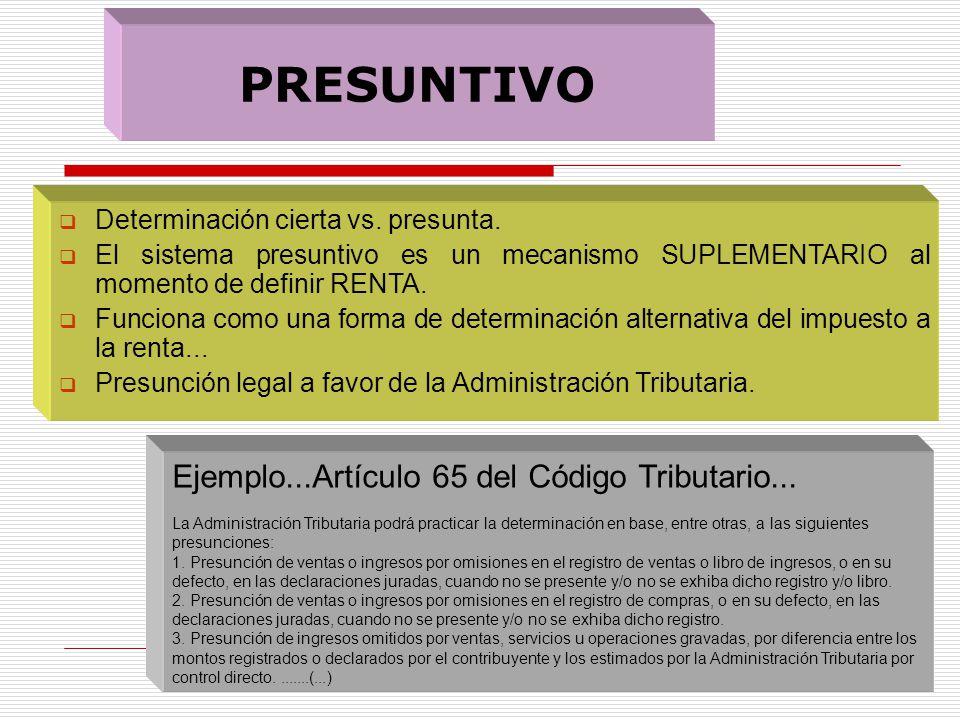 PRESUNTIVO Determinación cierta vs. presunta. El sistema presuntivo es un mecanismo SUPLEMENTARIO al momento de definir RENTA. Funciona como una forma