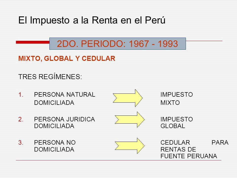 El Impuesto a la Renta en el Perú MIXTO, GLOBAL Y CEDULAR TRES REGÍMENES: 1.PERSONA NATURALIMPUESTO DOMICILIADAMIXTO 2.PERSONA JURIDICAIMPUESTO DOMICI
