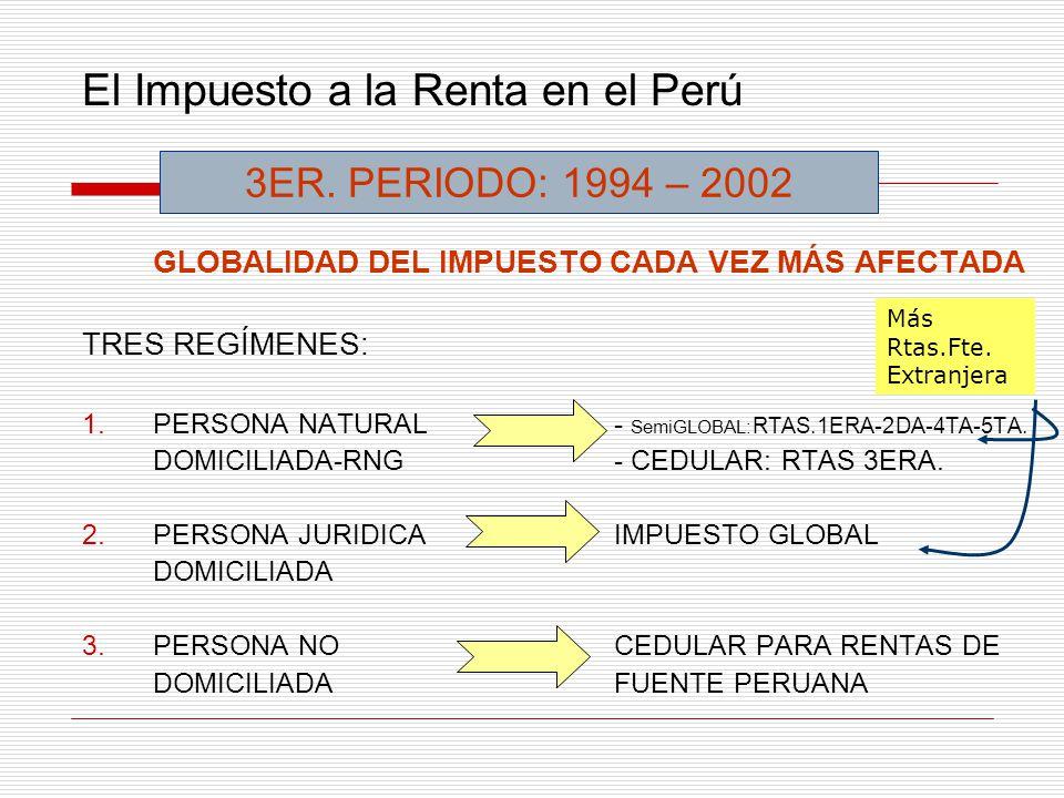 El Impuesto a la Renta en el Perú GLOBALIDAD DEL IMPUESTO CADA VEZ MÁS AFECTADA TRES REGÍMENES: 1.PERSONA NATURAL- SemiGLOBAL: RTAS.1ERA-2DA-4TA-5TA.
