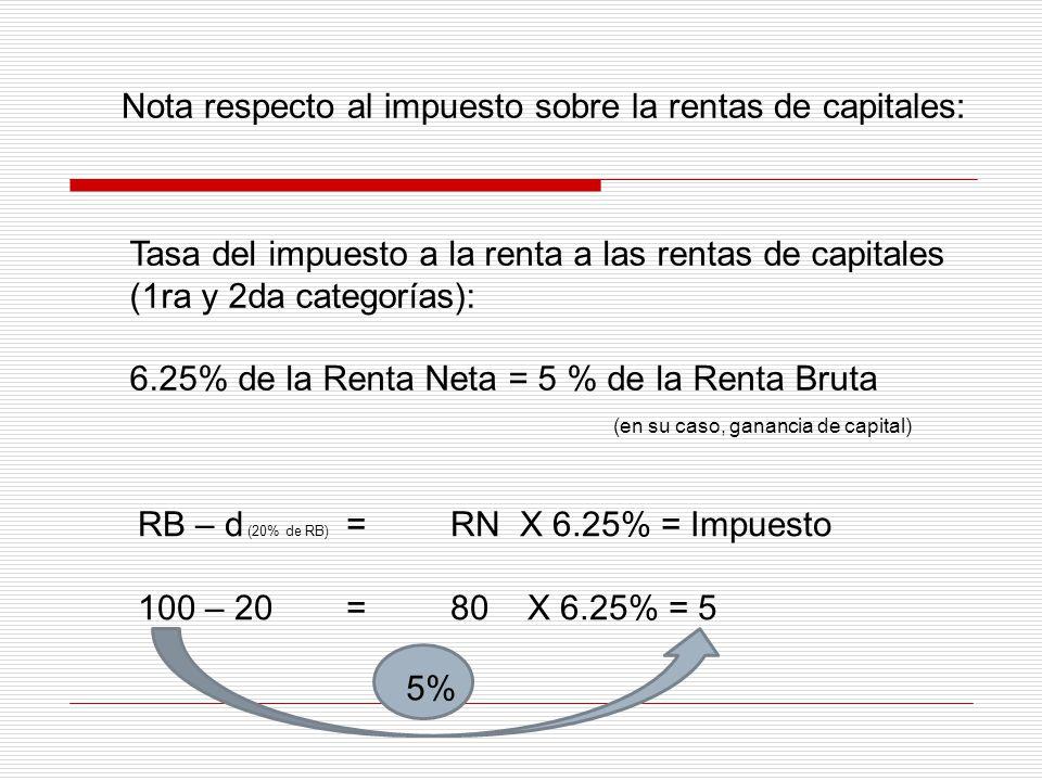 Nota respecto al impuesto sobre la rentas de capitales: Tasa del impuesto a la renta a las rentas de capitales (1ra y 2da categorías): 6.25% de la Ren
