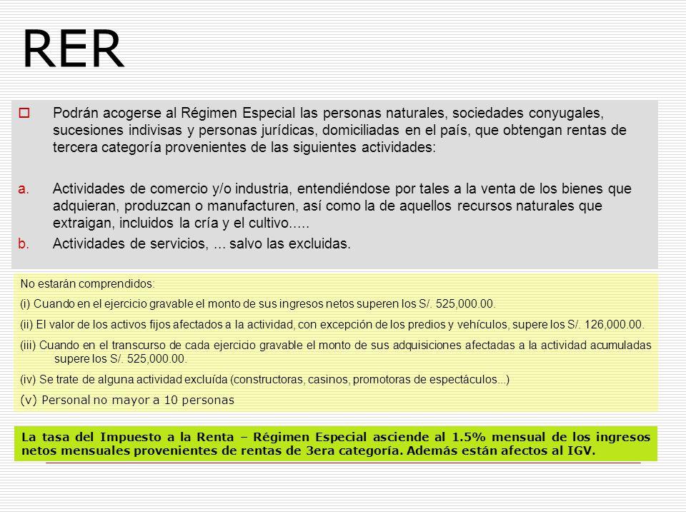 RER Podrán acogerse al Régimen Especial las personas naturales, sociedades conyugales, sucesiones indivisas y personas jurídicas, domiciliadas en el p