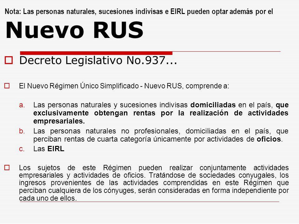 Nota: Las personas naturales, sucesiones indivisas e EIRL pueden optar además por el Nuevo RUS Decreto Legislativo No.937... El Nuevo Régimen Único Si