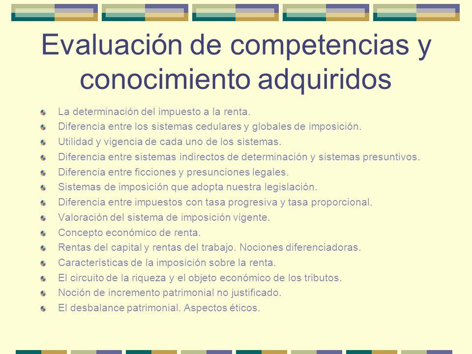 Evaluación de competencias y conocimiento adquiridos La determinación del impuesto a la renta. Diferencia entre los sistemas cedulares y globales de i