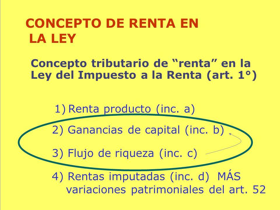94 Concepto tributario de renta en la Ley del Impuesto a la Renta (art. 1°) CONCEPTO DE RENTA EN LA LEY 1)Renta producto (inc. a) 3) Flujo de riqueza