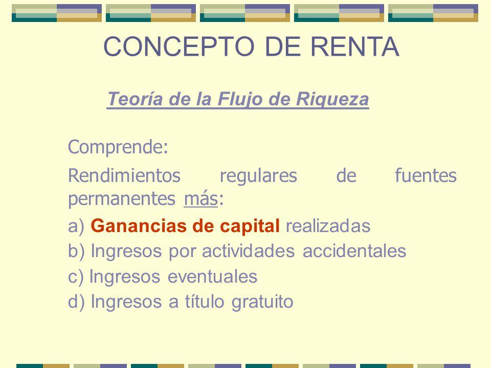 CONCEPTO DE RENTA Teoría de la Flujo de Riqueza Comprende: Rendimientos regulares de fuentes permanentes más: a) Ganancias de capital realizadas b) In