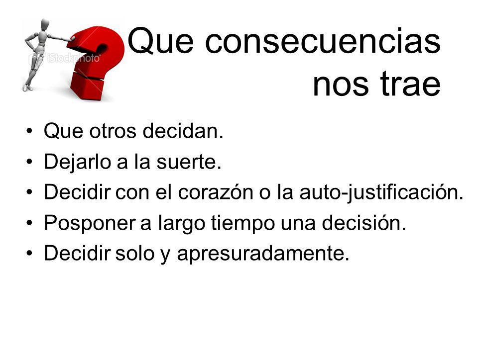 Que consecuencias nos trae Que otros decidan. Dejarlo a la suerte. Decidir con el corazón o la auto-justificación. Posponer a largo tiempo una decisió