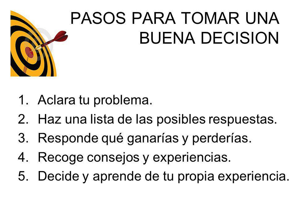PASOS PARA TOMAR UNA BUENA DECISION 1.Aclara tu problema. 2.Haz una lista de las posibles respuestas. 3.Responde qué ganarías y perderías. 4.Recoge co