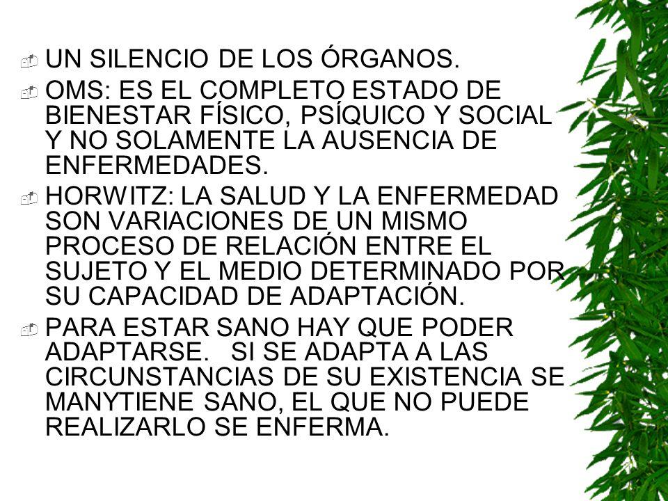 UN SILENCIO DE LOS ÓRGANOS. OMS: ES EL COMPLETO ESTADO DE BIENESTAR FÍSICO, PSÍQUICO Y SOCIAL Y NO SOLAMENTE LA AUSENCIA DE ENFERMEDADES. HORWITZ: LA