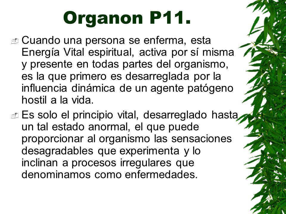 Organon P11. Cuando una persona se enferma, esta Energía Vital espiritual, activa por sí misma y presente en todas partes del organismo, es la que pri
