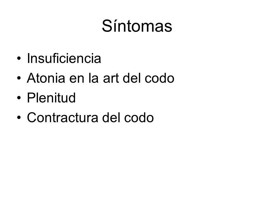 Síntomas Insuficiencia Atonia en la art del codo Plenitud Contractura del codo