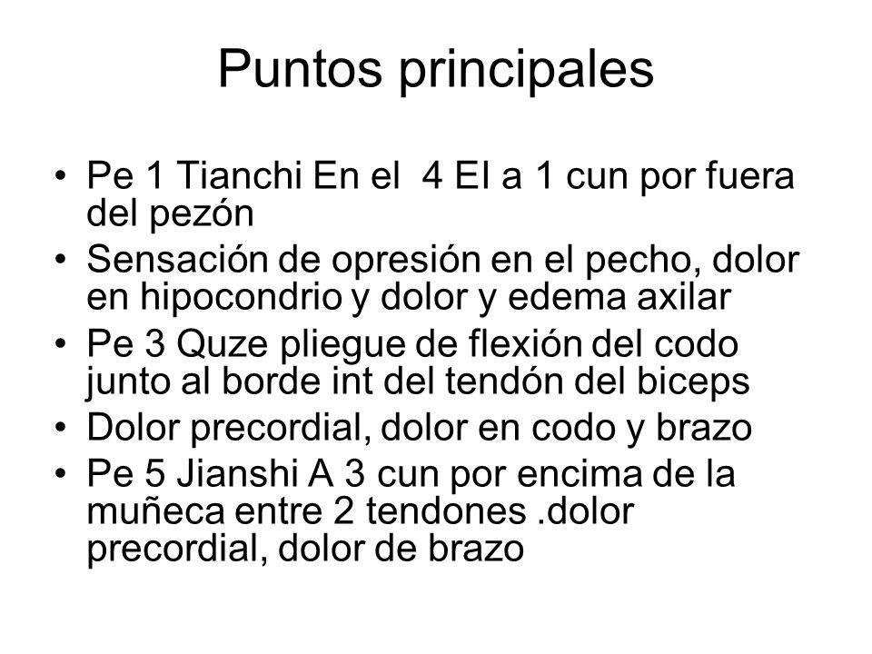 Puntos principales Pe 1 Tianchi En el 4 EI a 1 cun por fuera del pezón Sensación de opresión en el pecho, dolor en hipocondrio y dolor y edema axilar