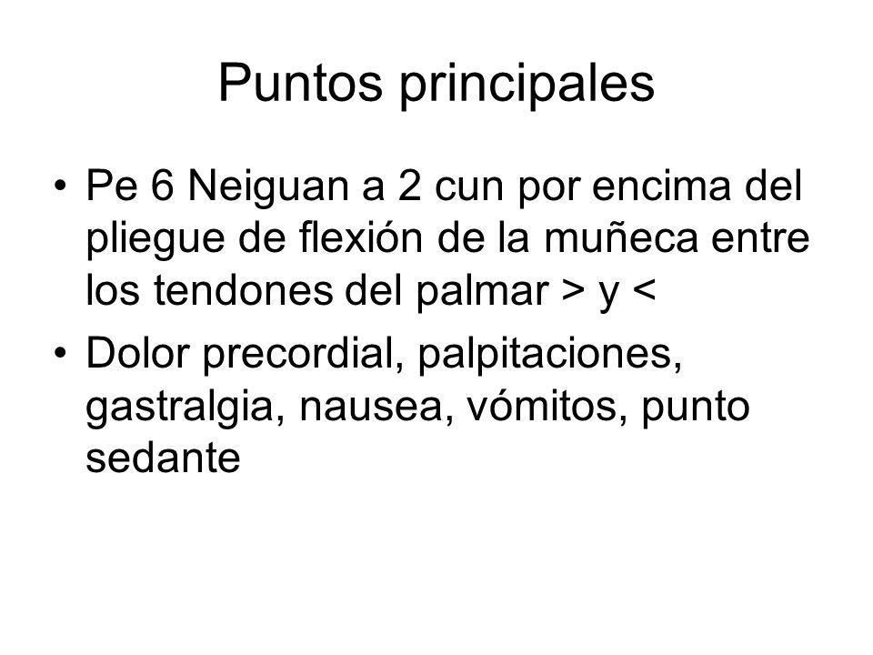 Puntos principales Pe 6 Neiguan a 2 cun por encima del pliegue de flexión de la muñeca entre los tendones del palmar > y < Dolor precordial, palpitaci