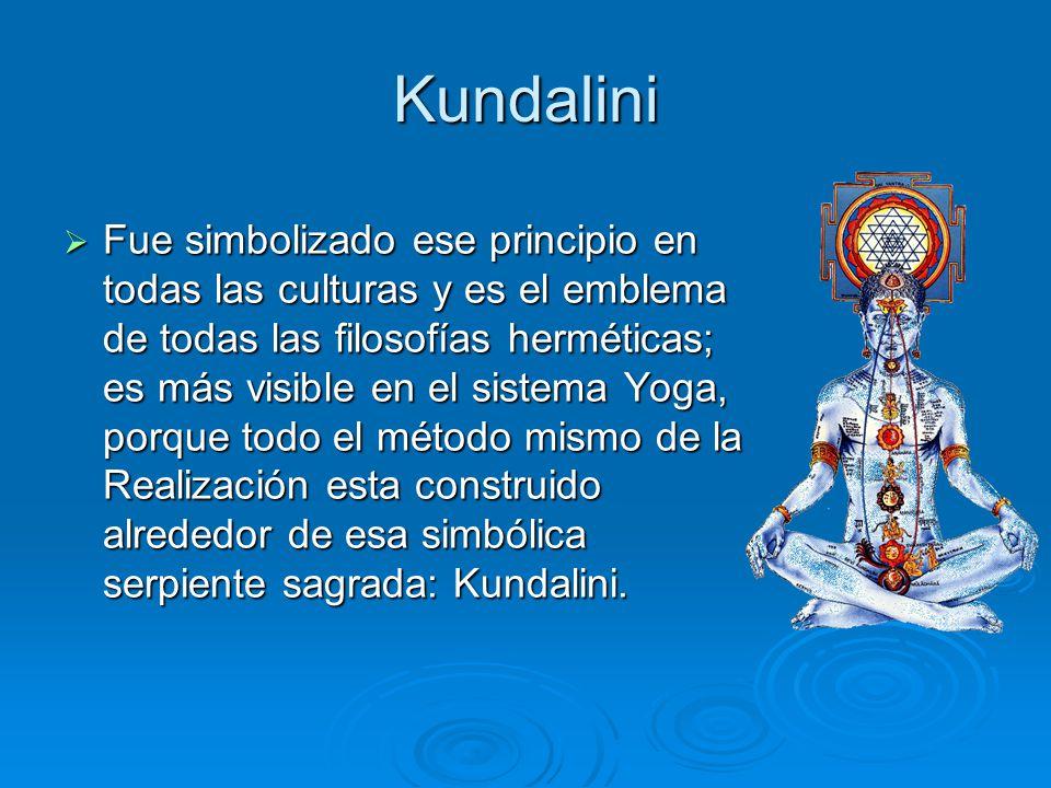 Kundalini Fue simbolizado ese principio en todas las culturas y es el emblema de todas las filosofías herméticas; es más visible en el sistema Yoga, p