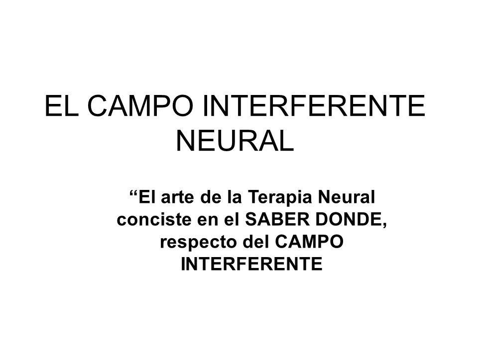 EL CAMPO INTERFERENTE NEURAL El arte de la Terapia Neural conciste en el SABER DONDE, respecto del CAMPO INTERFERENTE