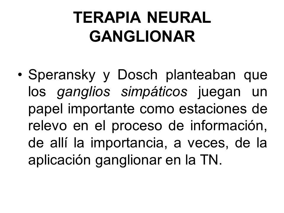 TERAPIA NEURAL GANGLIONAR Speransky y Dosch planteaban que los ganglios simpáticos juegan un papel importante como estaciones de relevo en el proceso