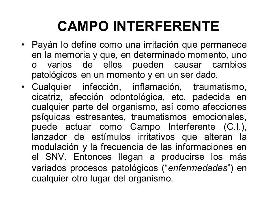 CAMPO INTERFERENTE Payán lo define como una irritación que permanece en la memoria y que, en determinado momento, uno o varios de ellos pueden causar