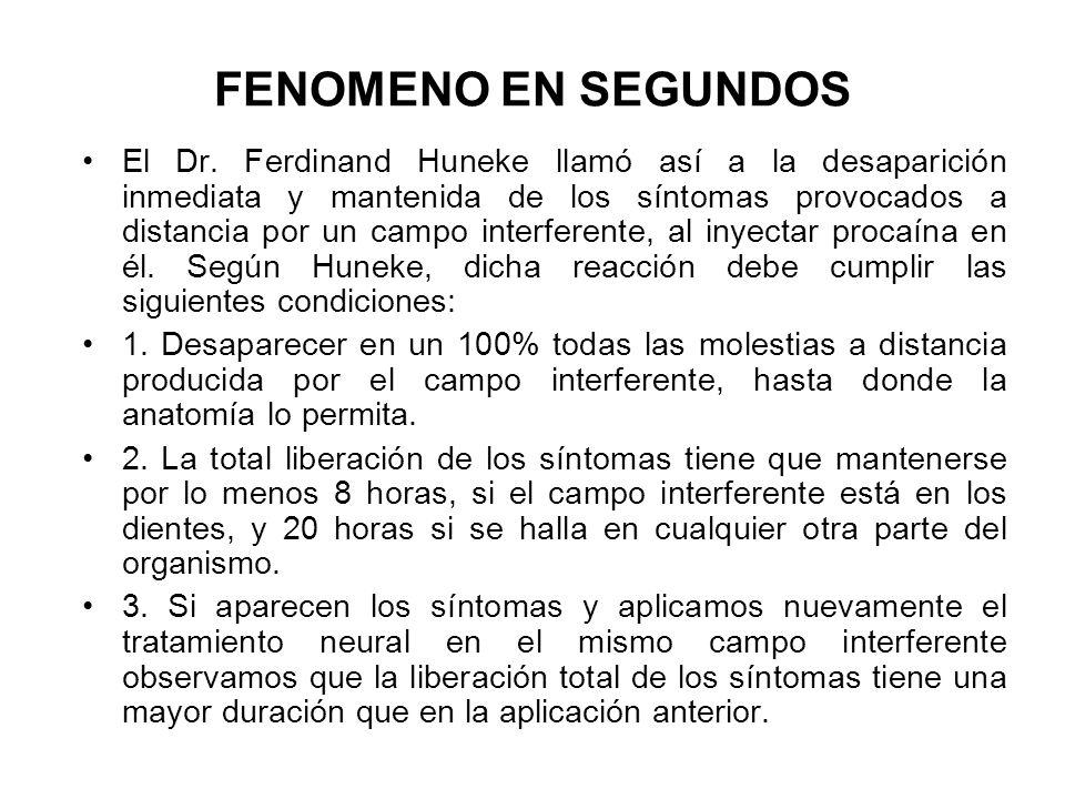 FENOMENO EN SEGUNDOS El Dr. Ferdinand Huneke llamó así a la desaparición inmediata y mantenida de los síntomas provocados a distancia por un campo int