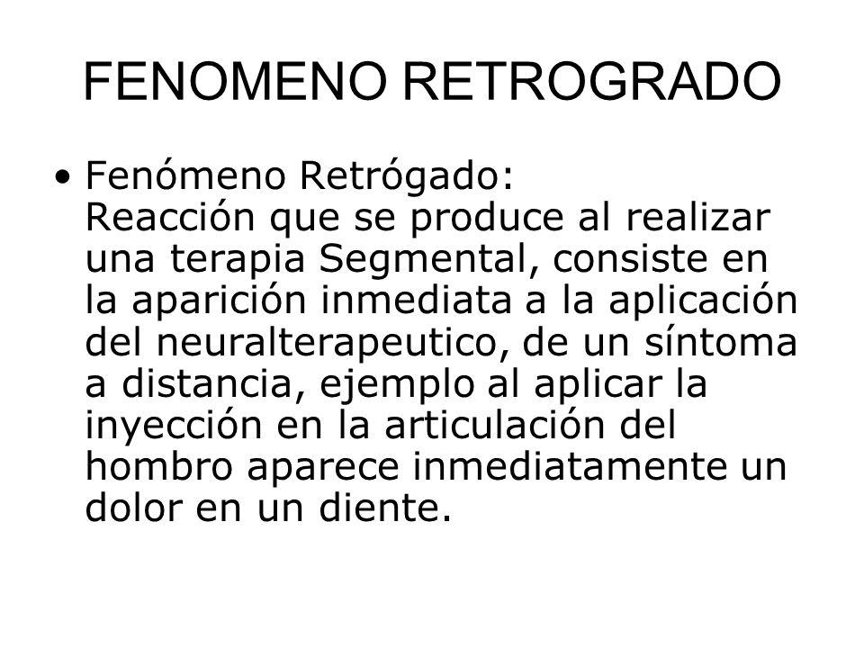 FENOMENO RETROGRADO Fenómeno Retrógado: Reacción que se produce al realizar una terapia Segmental, consiste en la aparición inmediata a la aplicación
