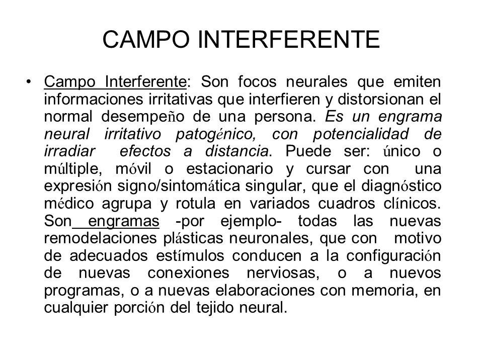 CAMPO INTERFERENTE Campo Interferente: Son focos neurales que emiten informaciones irritativas que interfieren y distorsionan el normal desempe ñ o de
