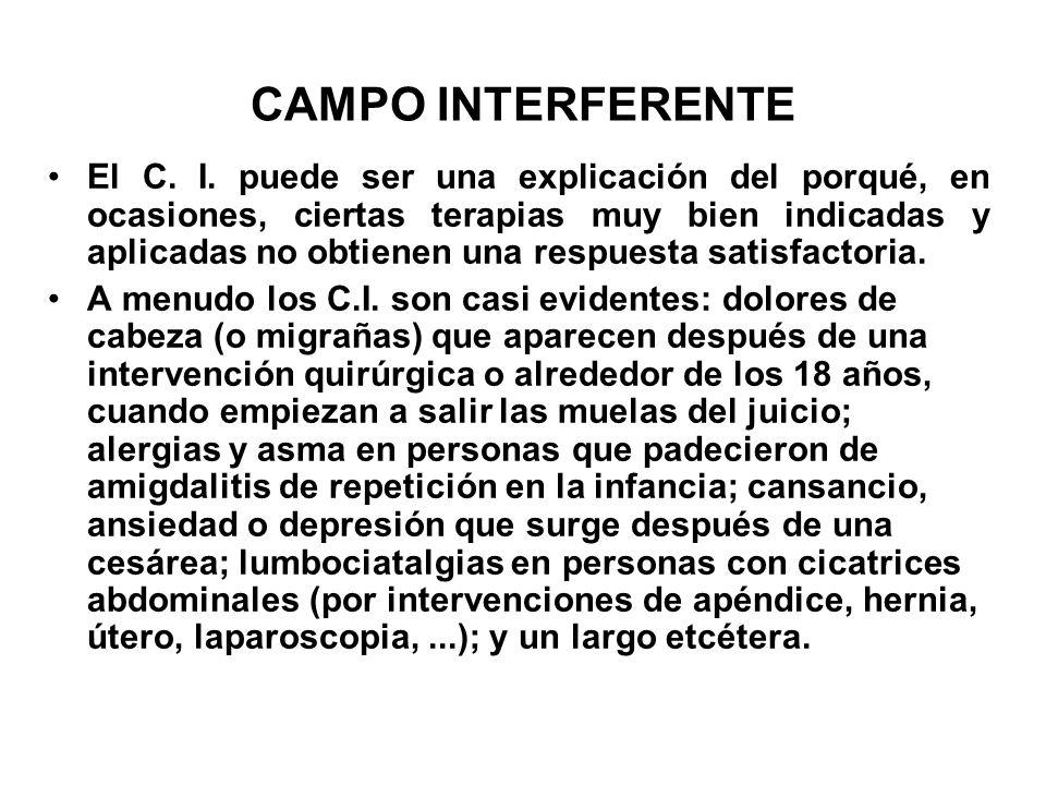 CAMPO INTERFERENTE El C. I. puede ser una explicación del porqué, en ocasiones, ciertas terapias muy bien indicadas y aplicadas no obtienen una respue