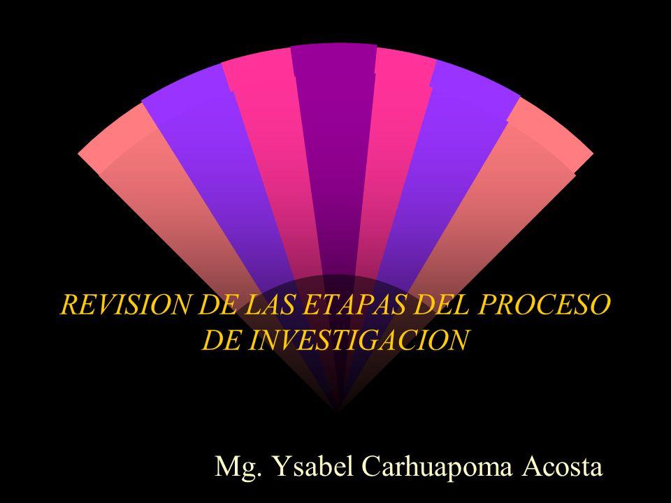 REVISION DE LAS ETAPAS DEL PROCESO DE INVESTIGACION Mg. Ysabel Carhuapoma Acosta