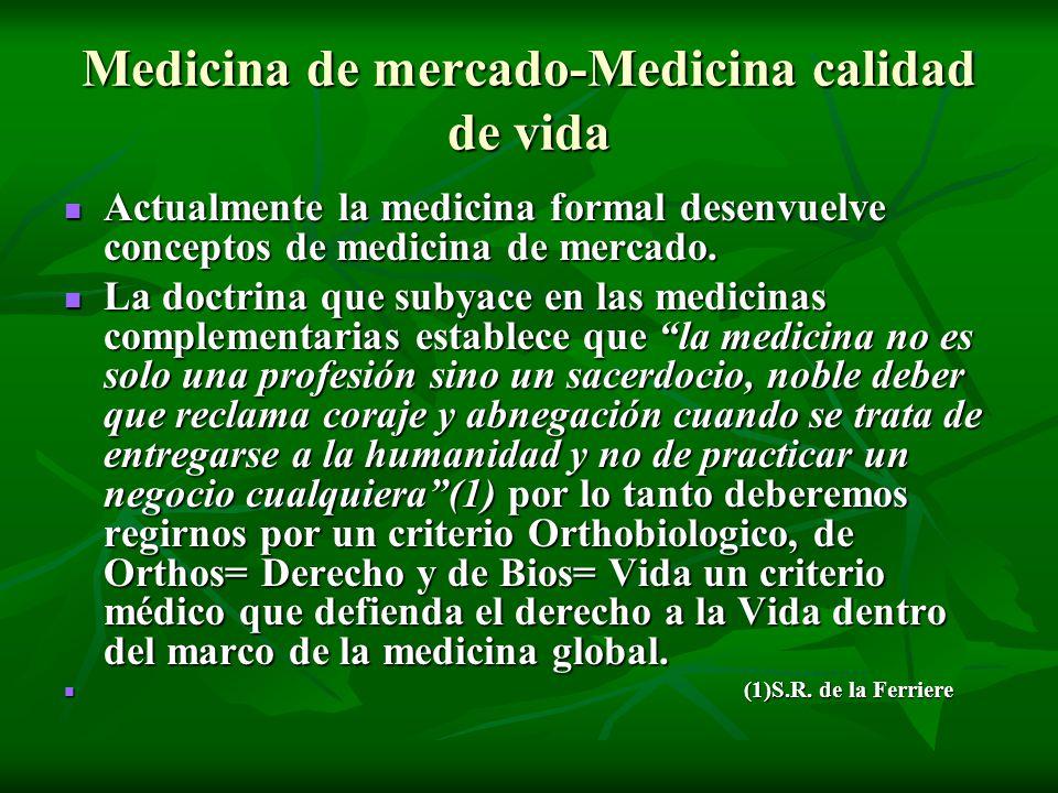 Medicina de mercado-Medicina calidad de vida Actualmente la medicina formal desenvuelve conceptos de medicina de mercado. Actualmente la medicina form