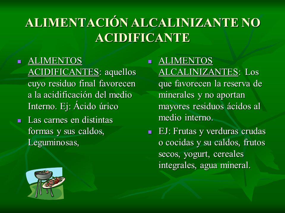 ALIMENTOS ACIDIFICANTES: aquellos cuyo residuo final favorecen a la acidificación del medio Interno. Ej: Ácido úrico ALIMENTOS ACIDIFICANTES: aquellos