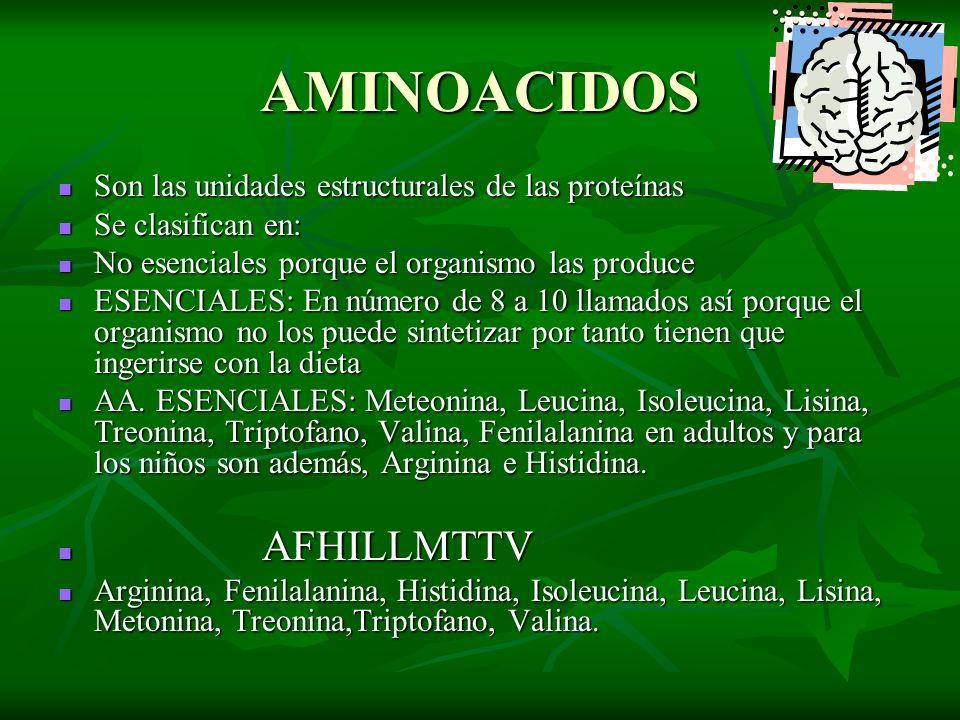 AMINOACIDOS Son las unidades estructurales de las proteínas Son las unidades estructurales de las proteínas Se clasifican en: Se clasifican en: No ese