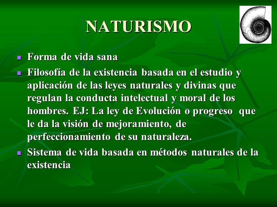 NATURISMO Forma de vida sana Forma de vida sana Filosofía de la existencia basada en el estudio y aplicación de las leyes naturales y divinas que regu