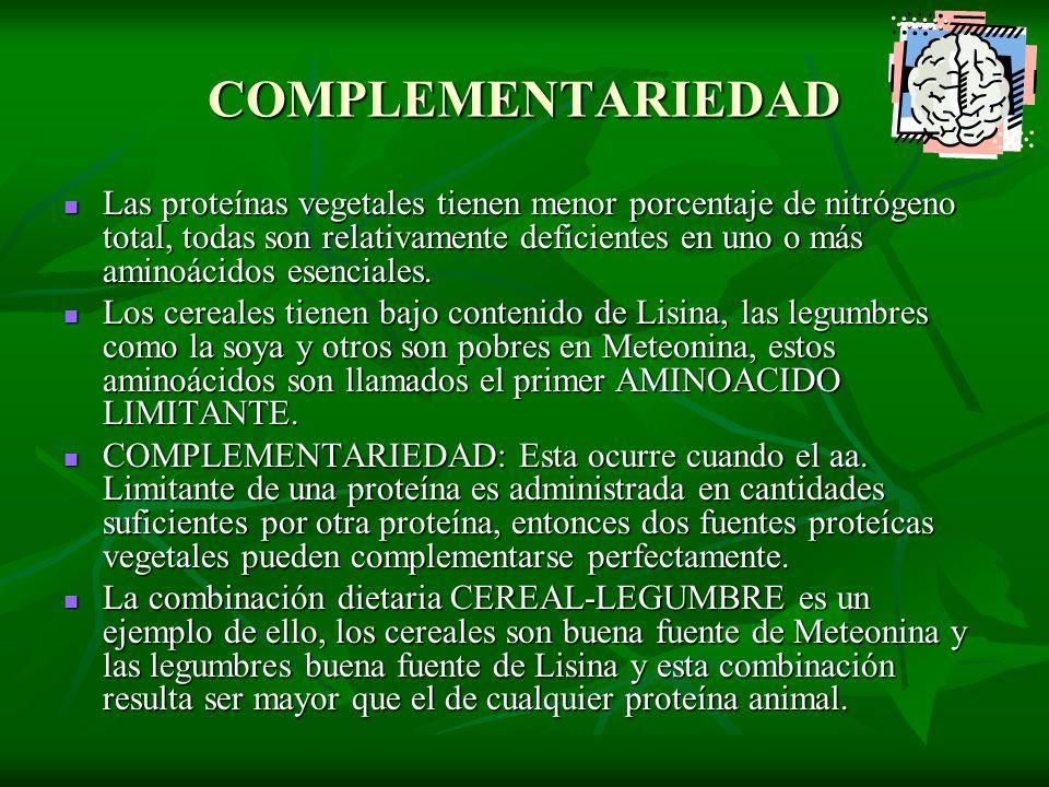COMPLEMENTARIEDAD Las proteínas vegetales tienen menor porcentaje de nitrógeno total, todas son relativamente deficientes en uno o más aminoácidos ese