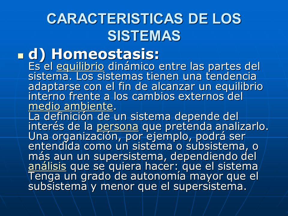 CARACTERISTICAS DE LOS SISTEMAS d) Homeostasis: Es el equilibrio dinámico entre las partes del sistema.