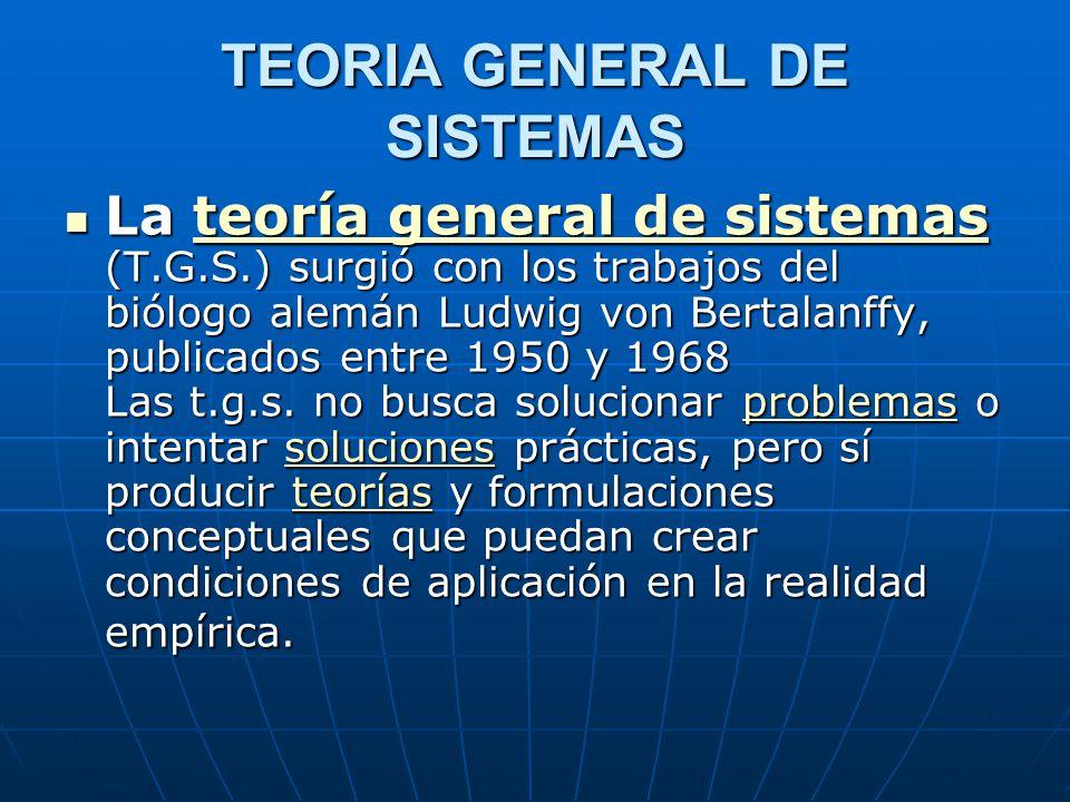 TEORIA GENERAL DE SISTEMAS La teoría general de sistemas (T.G.S.) surgió con los trabajos del biólogo alemán Ludwig von Bertalanffy, publicados entre 1950 y 1968 Las t.g.s.