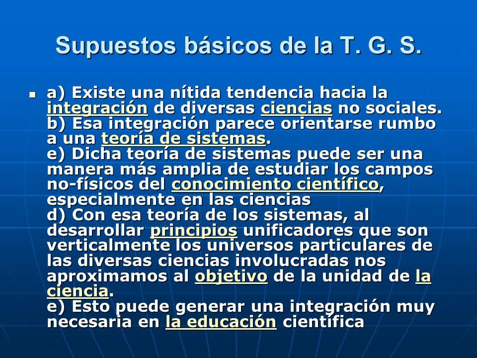 Supuestos básicos de la T. G. S.