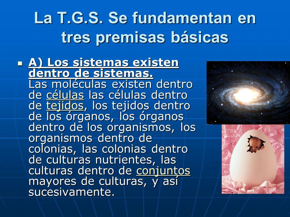 La T.G.S.Se fundamentan en tres premisas básicas A) Los sistemas existen dentro de sistemas.