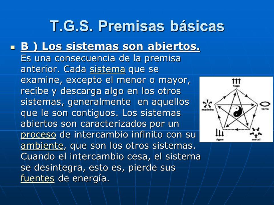 T.G.S. Premisas básicas B ) Los sistemas son abiertos.