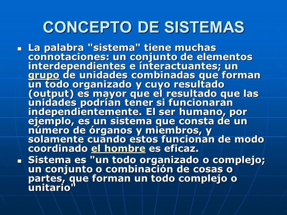 CONCEPTO DE SISTEMAS La palabra sistema tiene muchas connotaciones: un conjunto de elementos interdependientes e ínteractuantes; un grupo de unidades combinadas que forman un todo organizado y cuyo resultado (output) es mayor que el resultado que las unidades podrían tener si funcionaran independientemente.