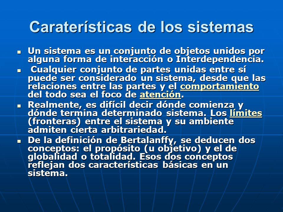 Caraterísticas de los sistemas Un sistema es un conjunto de objetos unidos por alguna forma de interacción o Interdependencia.