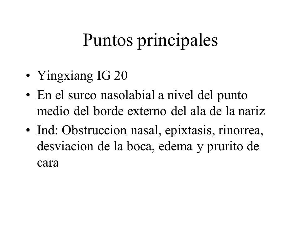 Puntos principales Yingxiang IG 20 En el surco nasolabial a nivel del punto medio del borde externo del ala de la nariz Ind: Obstruccion nasal, epixta