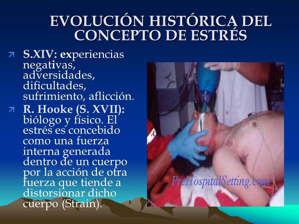 EVOLUCIÓN HISTÓRICA DEL CONCEPTO DE ESTRÉS ä S.XIV: ex periencias negat i vas, adversidades, dificultades, sufrimiento, aflicción.