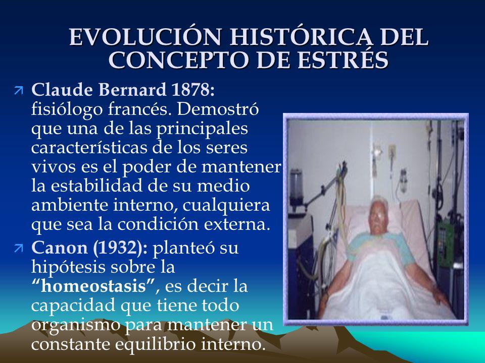 EVOLUCIÓN HISTÓRICA DEL CONCEPTO DE ESTRÉS ä Claude Bernard 1878: fisiólogo francés.