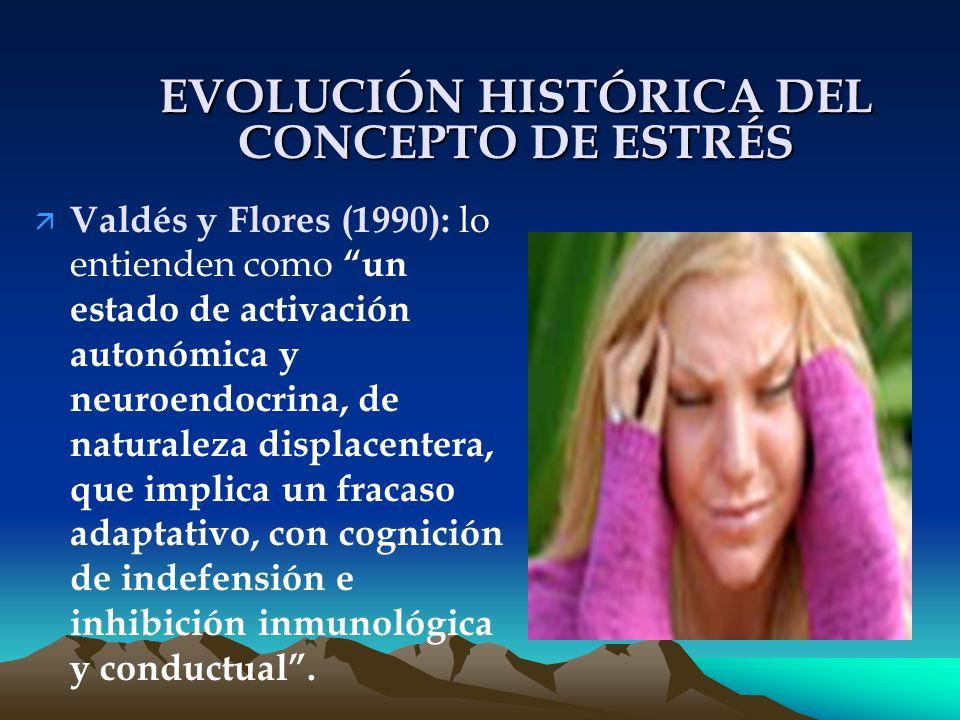 EVOLUCIÓN HISTÓRICA DEL CONCEPTO DE ESTRÉS ä Valdés y Flores (1990): lo entienden como un estado de activación autonómica y neuroendocrina, de naturaleza displacentera, que implica un fracaso adaptativo, con cognición de indefensión e inhibición inmunológica y conductual.