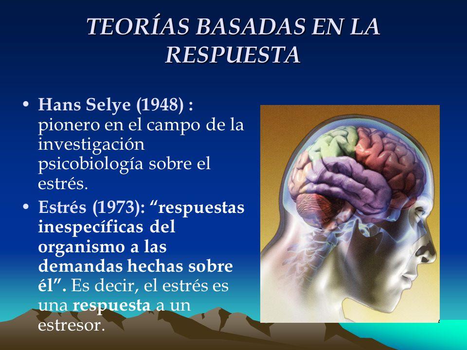 TEORÍAS BASADAS EN LA RESPUESTA Hans Selye (1948) : pionero en el campo de la investigación psicobiología sobre el estrés.