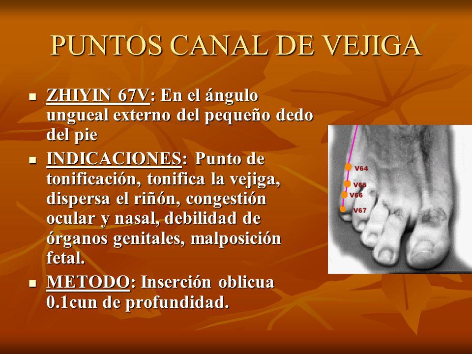PUNTOS CANAL DE VEJIGA ZHIYIN 67V: En el ángulo ungueal externo del pequeño dedo del pie ZHIYIN 67V: En el ángulo ungueal externo del pequeño dedo del