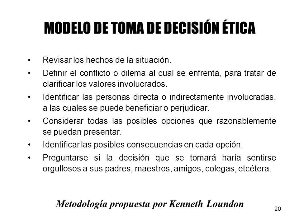 20 MODELO DE TOMA DE DECISIÓN ÉTICA Revisar los hechos de la situación.