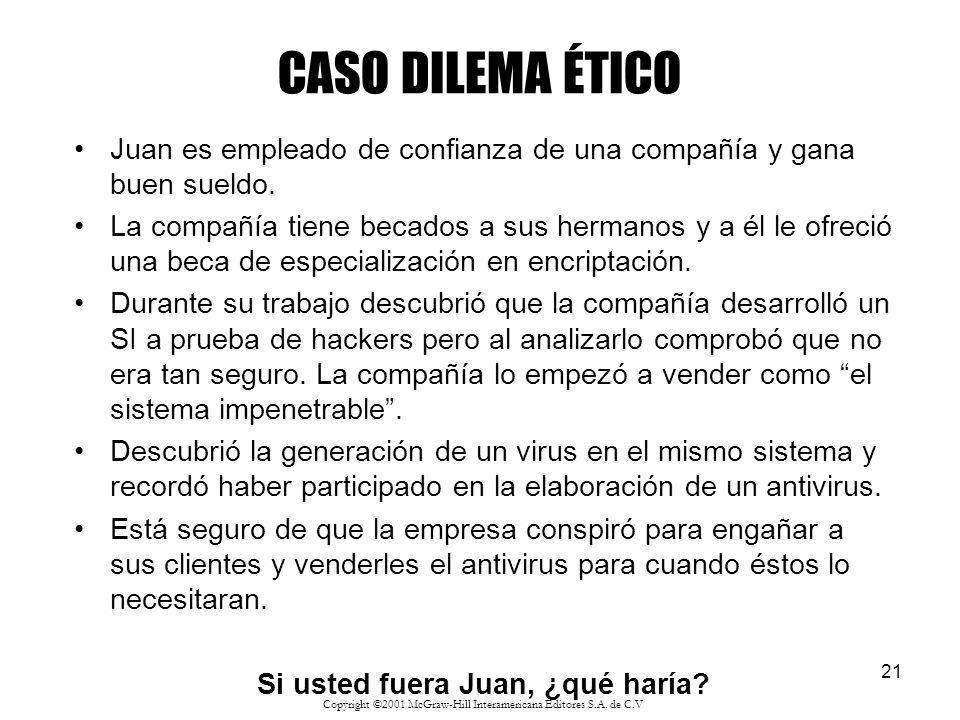 21 CASO DILEMA ÉTICO Juan es empleado de confianza de una compañía y gana buen sueldo. La compañía tiene becados a sus hermanos y a él le ofreció una