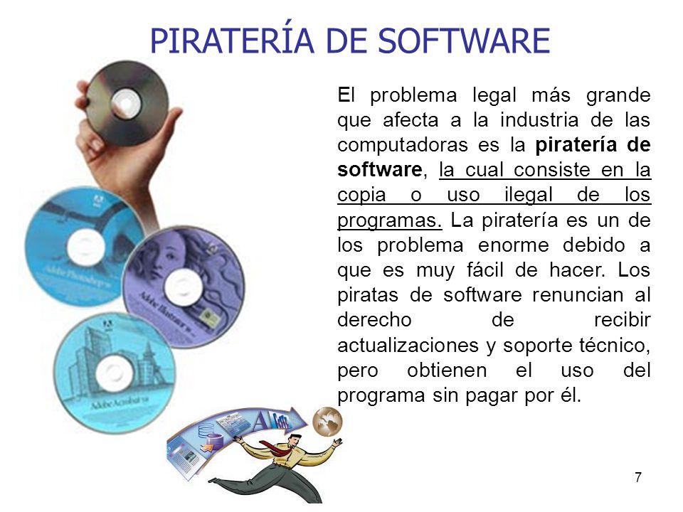 7 El problema legal más grande que afecta a la industria de las computadoras es la piratería de software, la cual consiste en la copia o uso ilegal de los programas.