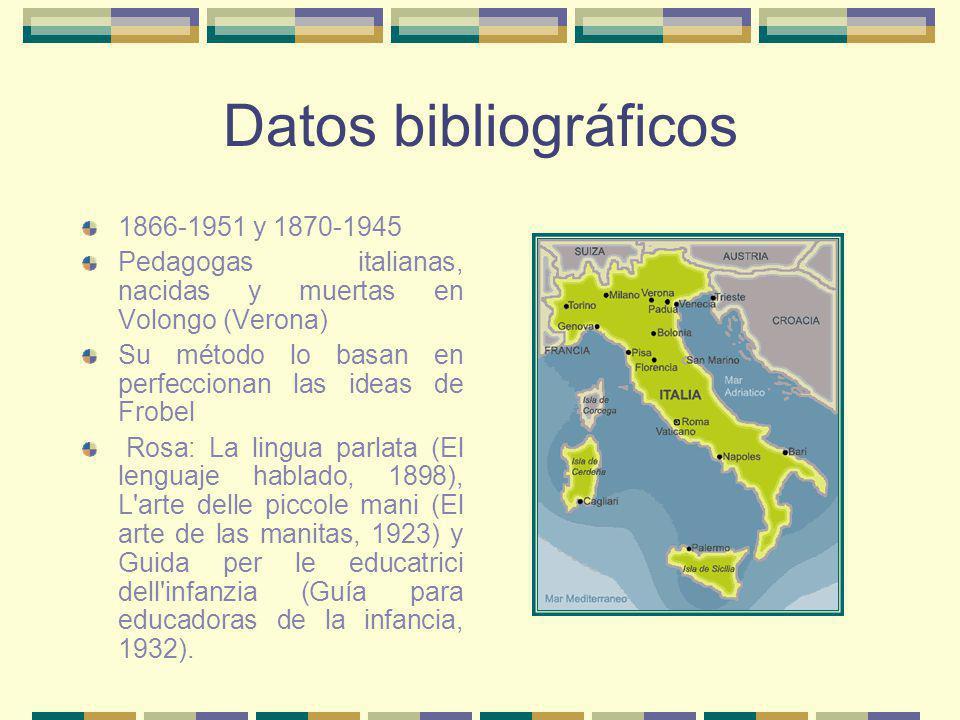 Datos bibliográficos 1866-1951 y 1870-1945 Pedagogas italianas, nacidas y muertas en Volongo (Verona) Su método lo basan en perfeccionan las ideas de
