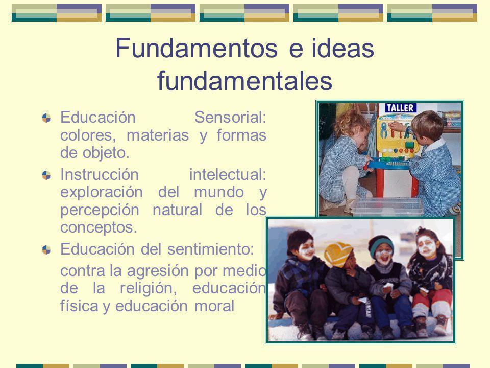 Fundamentos e ideas fundamentales Educación Sensorial: colores, materias y formas de objeto. Instrucción intelectual: exploración del mundo y percepci